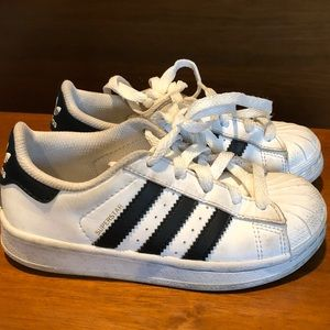Euc Adidas white sneakers black stripes